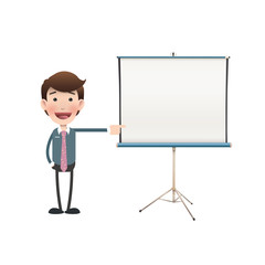 Business people with projector screen over white. Vector design.