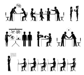 Set of business people silhouettes in meetings