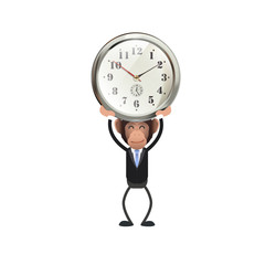 Business people with vintage clock over white. Vector design