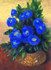 Gouache painting. Blue flowers in yellow round vase