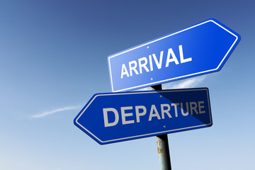 Arrival and Departure directions.  Opposite traffic sign.