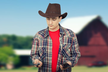 Cowboy deciding whom to call him
