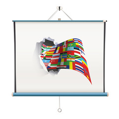 projector screen with big flag over white background
