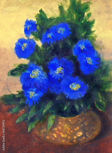 canvas print picture Gouache painting. Blue flowers in yellow round vase