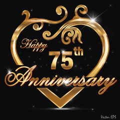 75 year anniversary golden heart design