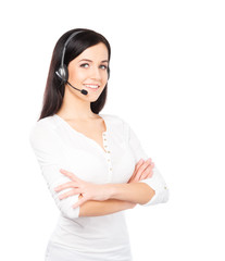 Young, confident and beautiful customer support operator