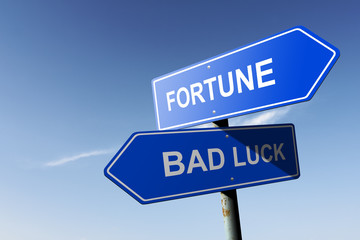 Fortune and Bad luck directions.  Opposite traffic sign.