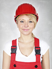 Apprentice with building-site helmet