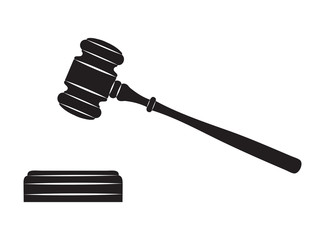 Judge gavel. Black silhouette on white background.