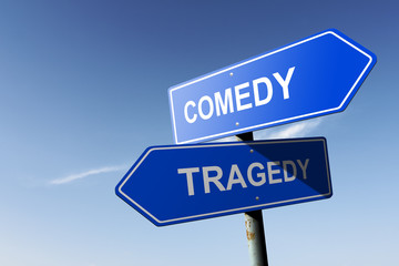 Comedy and Tragedy directions.  Opposite traffic sign.