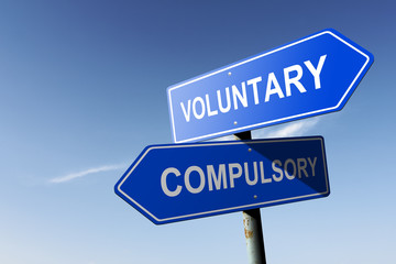 Voluntary and Compulsory directions.  Opposite traffic sign.
