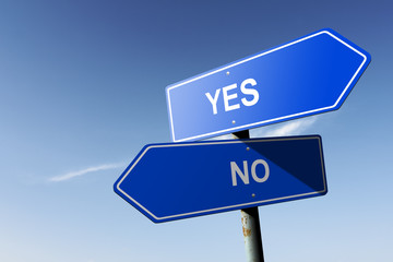 Yes and No directions.  Opposite traffic sign.