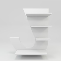 alphabet shelf shape J