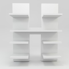 alphabet shelf shape H