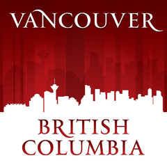 Vancouver British Columbia city skyline silhouette red backgroun