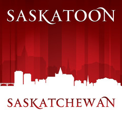 Saskatoon Saskatchewan Canada city skyline silhouette red backgr