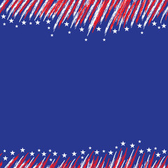 USA flag. A poster with a large scratched frame.
