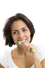Attractive Woman Brushing Teeth