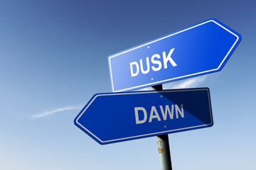 Dusk and Dawn directions.  Opposite traffic sign.