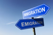 Immigration and Emigration directions.  Opposite traffic sign.