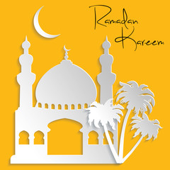 Islamic Architecture Paper Cut Background Ramadan Kareem Card