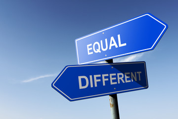 Equal and Different directions.  Opposite traffic sign.