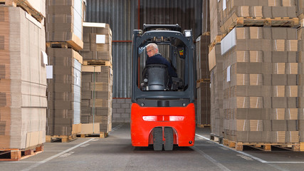 Forklift driving backwards