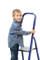 Boy is standing on ladder
