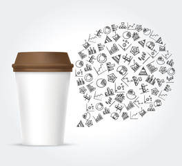 White paper coffee cup and bubble thought with diagram icons