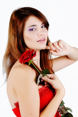 sweet teen girl with rose