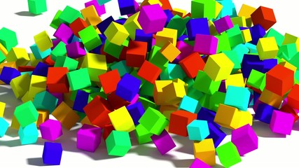 Falling colored cubes.