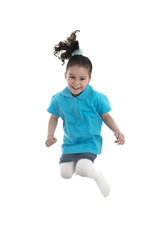 Active Joyful Girl Jumping with Joy