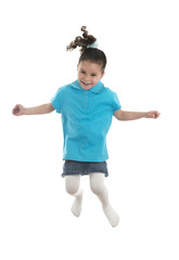 Active Joyful Young Girl Jumping with Joy