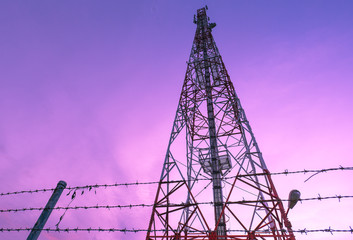Cell phone signal station in the evening.