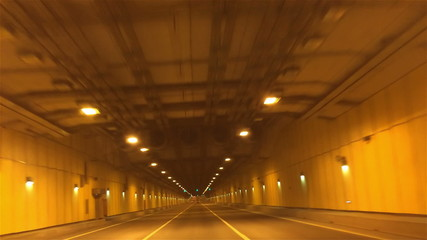 the car goes in the tunnel (under a dam Petersburg-Kronstadt)