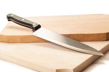 Steel knife and two wooden boards.