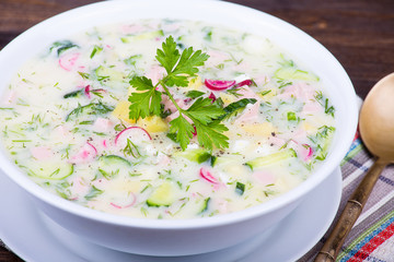 Cold vegetable soup - okroshka