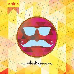 Autumn hipster style Mustache and Glasses. EPS 10