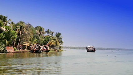 India. Houseboat on Kerala backwaters.