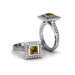 Yellow topaz princess ring