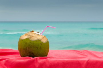 coconuts cocktail, seashore