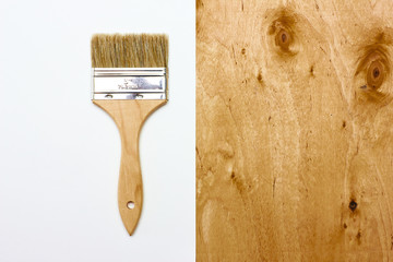 Renovation brush with paper and wooden texture