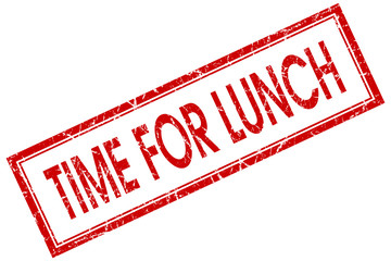 Time for lunch red square grungy stamp