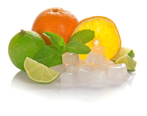 Orange and juicy lime, mint