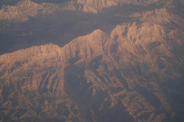 Aerial view mountains sunset,