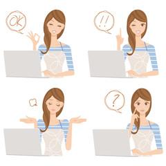 パソコンをする主婦、女性