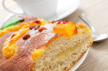 coca de Sant Joan, typical sweet flat cake from Catalonia, Spain