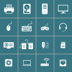 computer hardware and accessory icon set, vector eps10