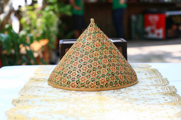 Thai style food cover made from bamboo wood
