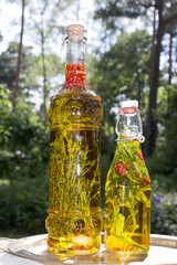 herbs in bottles with oil